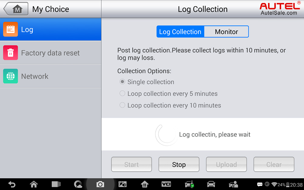 Collecting the log in process: