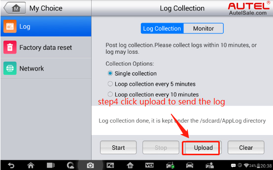 """Step 4: Log collection is done, then click """"upload"""" to upload the datalog to Autel server so engineer can check it."""